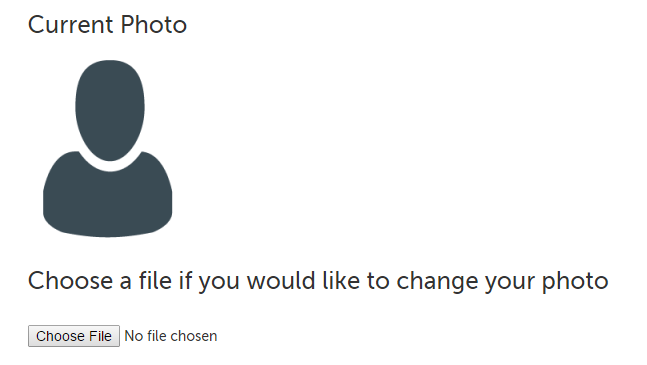 Choose File button to upload profile photo