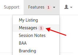 Messages is second item in the drop-down menu