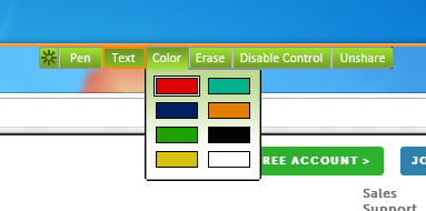 Screencap showing the share screen color palette