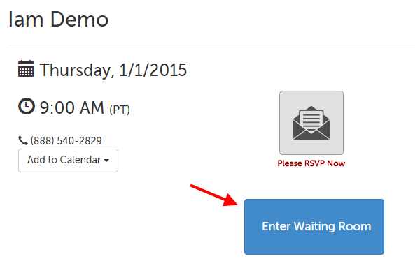 Enter Waiting Room button in the center of the page