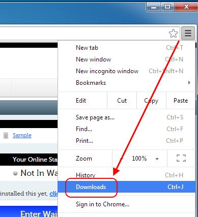 Screencap of Downloads option in Chrome