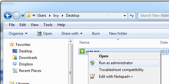 Screencap showing Run as admin option