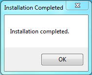 Installation Complete message