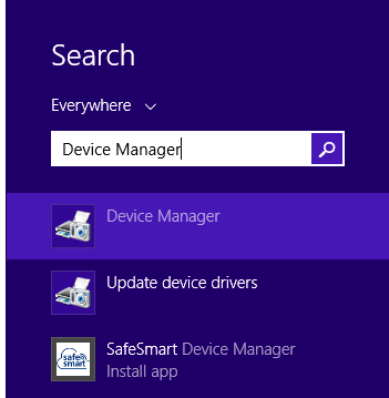 Device Manager in search results