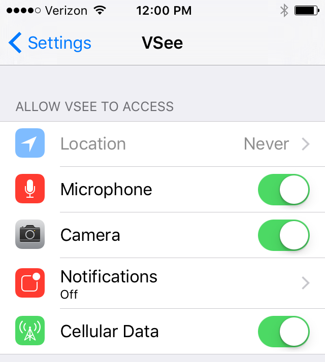 SecureVideo - VSee Audio/Video Settings: iPhones