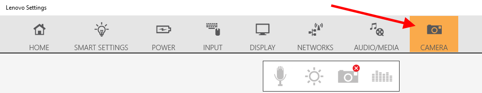 SecureVideo - Lenovo: Camera appears as an icon with a line through it