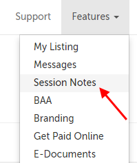 Session Notes in the Features menu