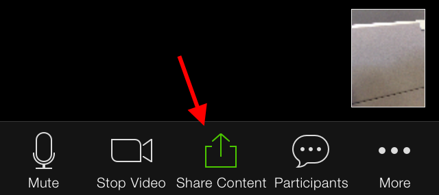 Share Content button in middle