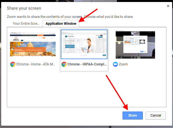 Arrow pointing to 'Application Window' tab, and then 'Share' button