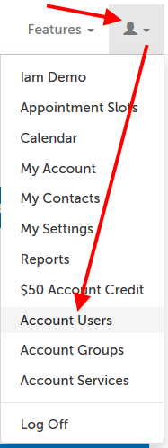 "Profile menu; arrow pointing at ""glyphicon-user"", and then ""Account Users"" in menu."