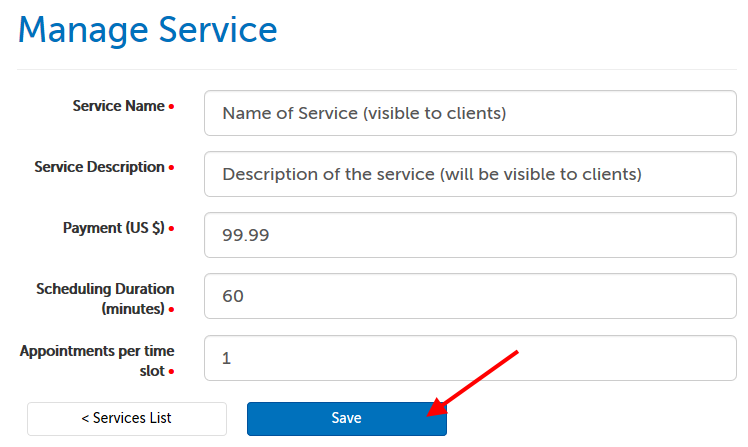 Fields required to create a service, listed in text