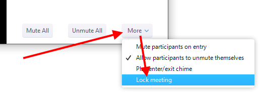 """More"" menu, ""Lock meeting"" option"