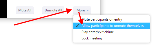 """More"" menu, ""Allow participants to unmute themselves"" option"