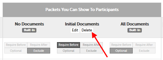 "Arrow pointing to ""Delete"" button below the packet name ""Initial Documents"""