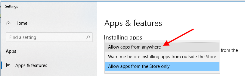 """Allow apps from anywhere"" setting"