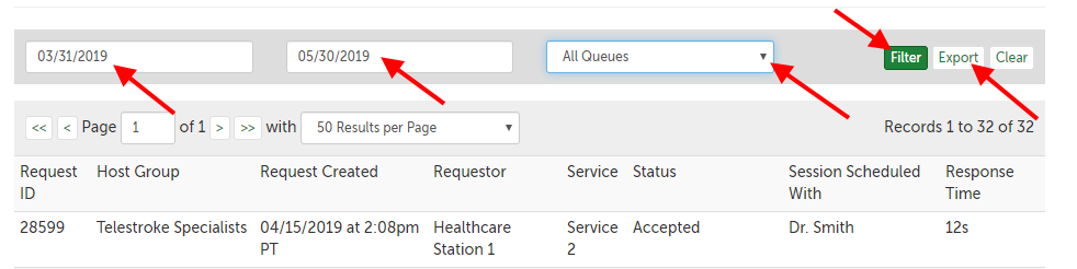 Example of a queues report; columns: Request ID, Host Group, Request Created (date), Requestor, Service, Status, Session Scheduled With, Response Time